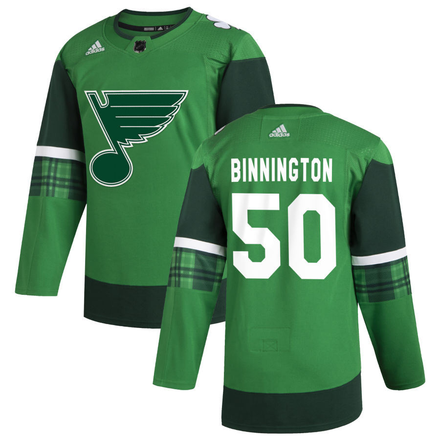 Wholesale St. Louis Blues 50 Jordan Binnington Men Adidas 2020 St. Patrick Day Stitched NHL Jersey Green