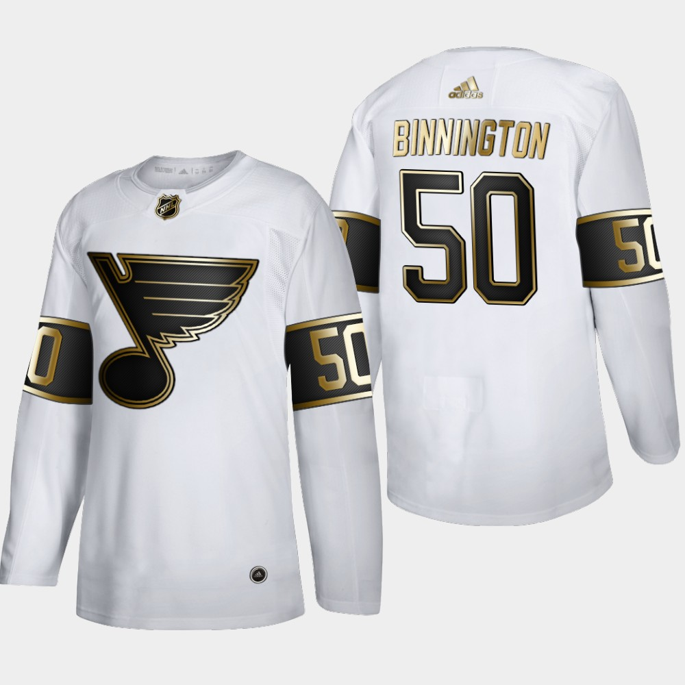 Wholesale St. Louis Blues 50 Jordan Binnington Men Adidas White Golden Edition Limited Stitched NHL Jersey