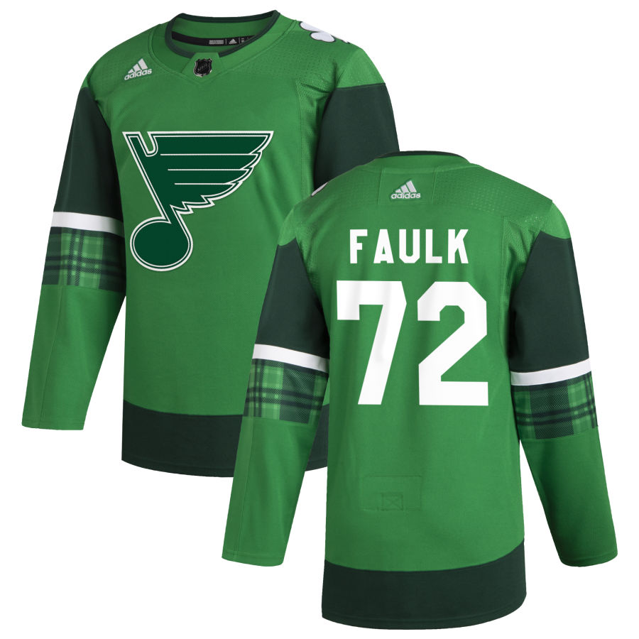 Wholesale St. Louis Blues 72 Justin Faulk Men Adidas 2020 St. Patrick Day Stitched NHL Jersey Green