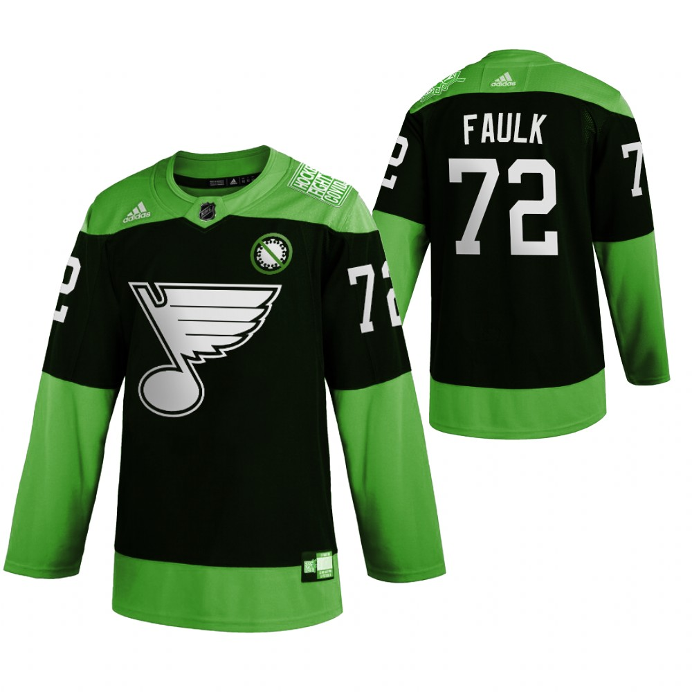 Wholesale St. Louis Blues 72 Justin Faulk Men Adidas Green Hockey Fight nCoV Limited NHL Jersey