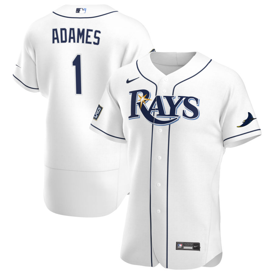 Cheap Tampa Bay Rays 1 Willy Adames Men Nike White Home 2020 World Series Bound Authentic Player MLB Jersey