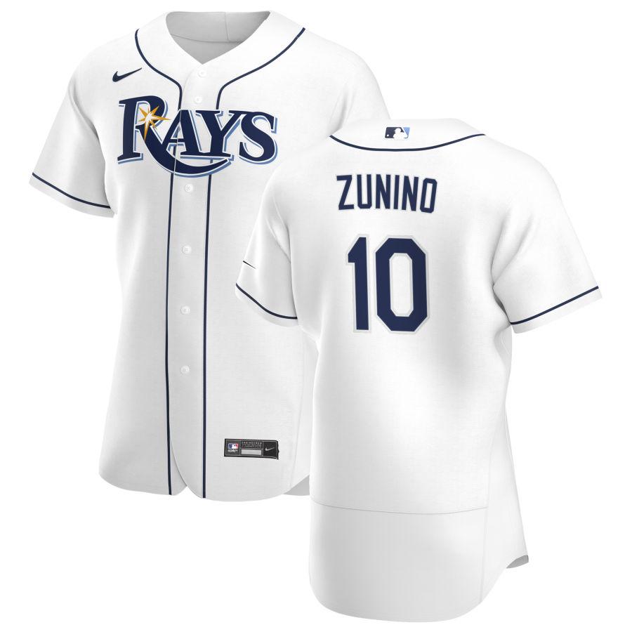 Wholesale Tampa Bay Rays 10 Mike Zunino Men Nike White Home 2020 Authentic Player MLB Jersey