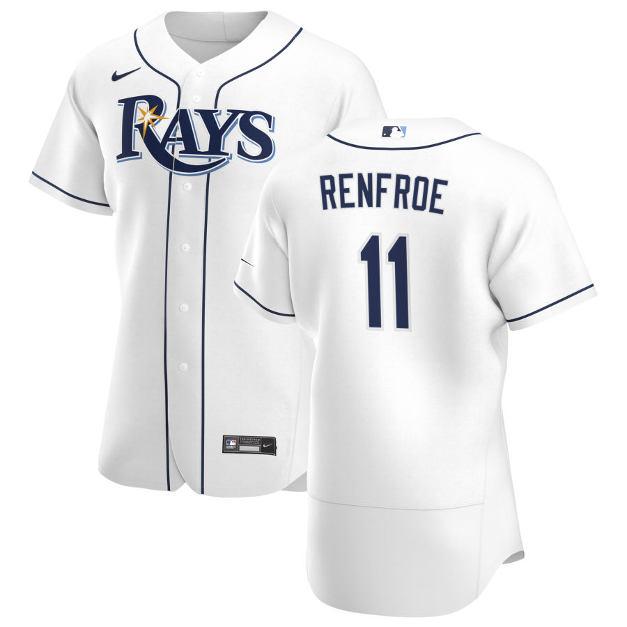 Wholesale Tampa Bay Rays 11 Hunter Renfroe Men Nike White Home 2020 Authentic Player MLB Jersey