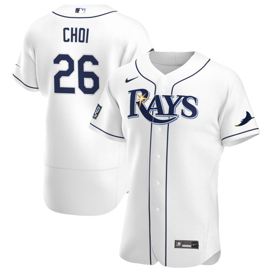 Wholesale Tampa Bay Rays 26 Ji-Man Choi Men Nike White Home 2020 World Series Bound Authentic Player MLB Jersey
