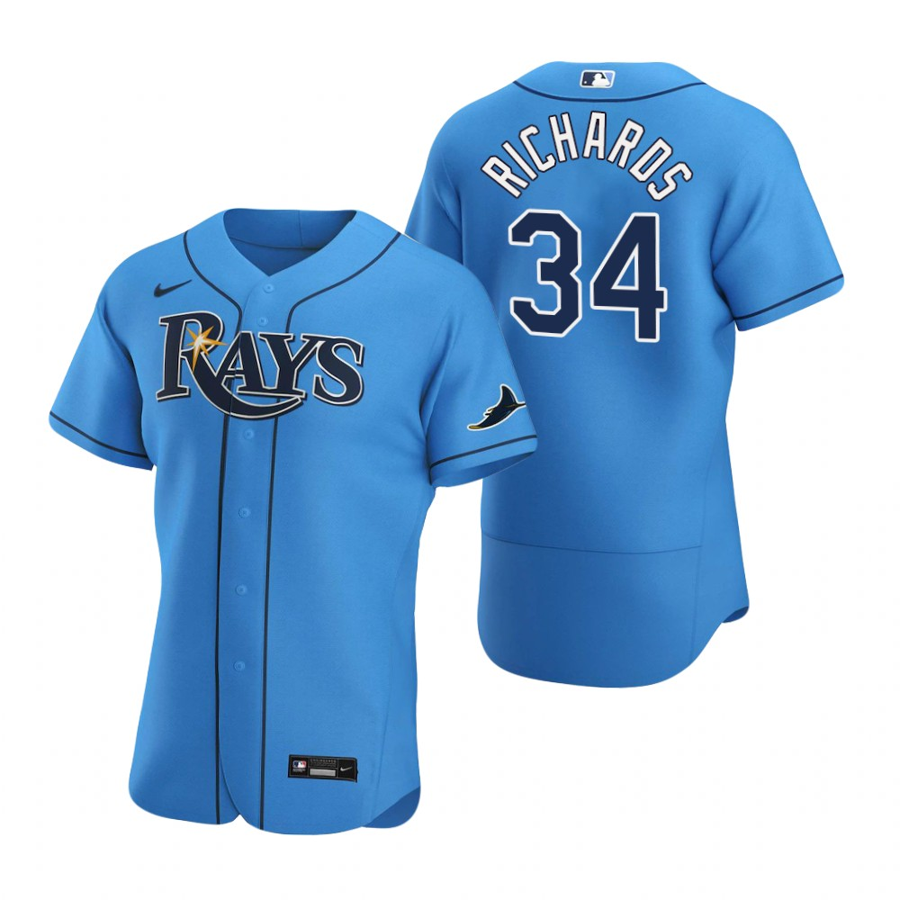 Wholesale Tampa Bay Rays 34 Trevor Richards Men Nike Light Blue Alternate 2020 Authentic Player MLB Jersey