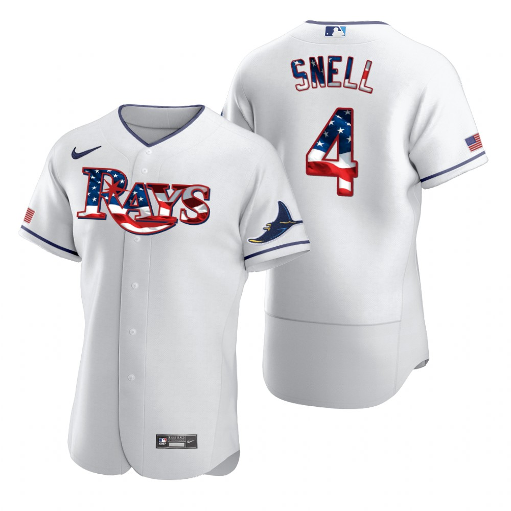 Wholesale Tampa Bay Rays 4 Blake Snell Men Nike White Fluttering USA Flag Limited Edition Authentic MLB Jersey