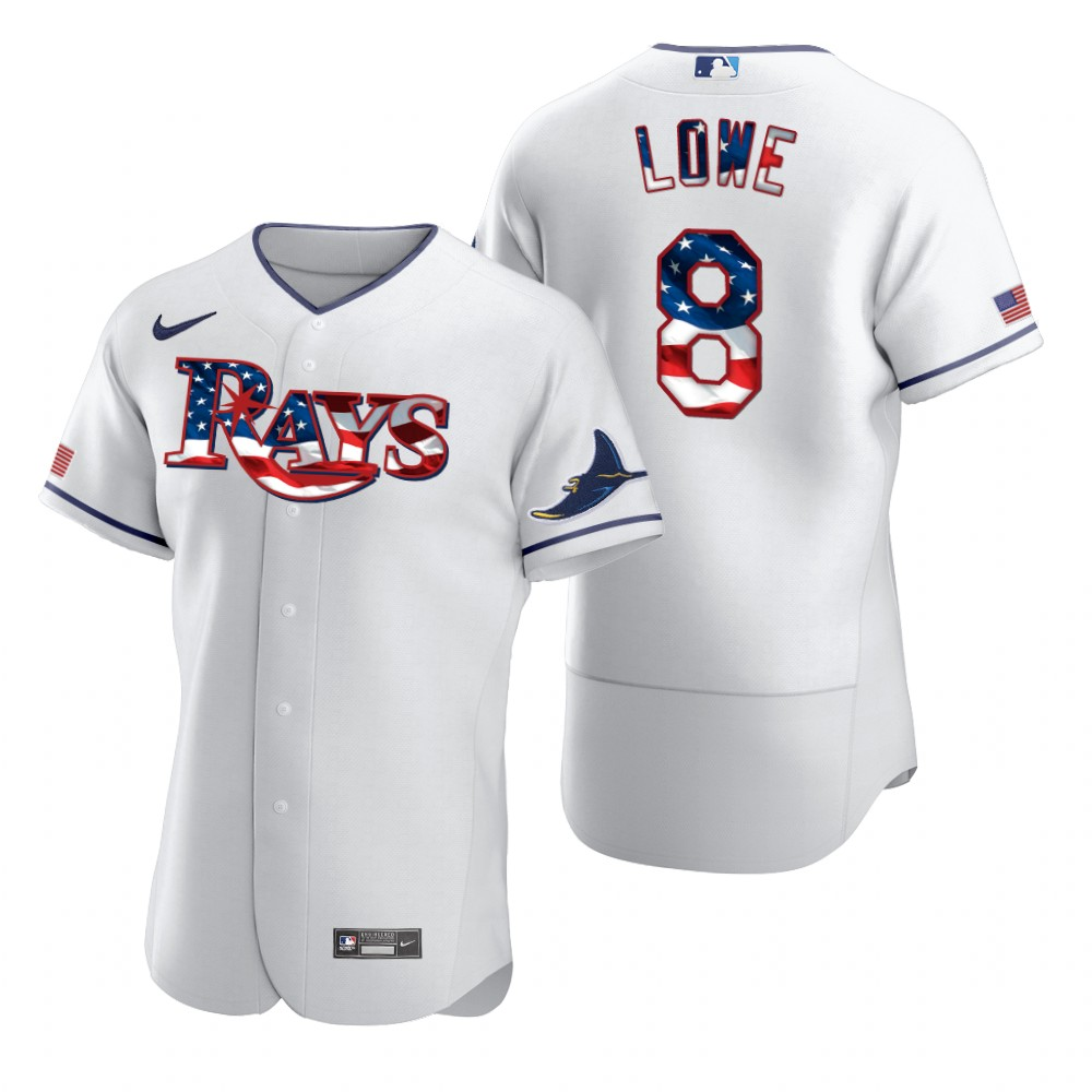 Cheap Tampa Bay Rays 8 Brandon Lowe Men Nike White Fluttering USA Flag Limited Edition Authentic MLB Jersey