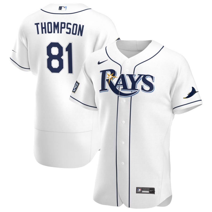 Cheap Tampa Bay Rays 81 Ryan Thompson Men Nike White Home 2020 World Series Bound Authentic Player MLB Jersey