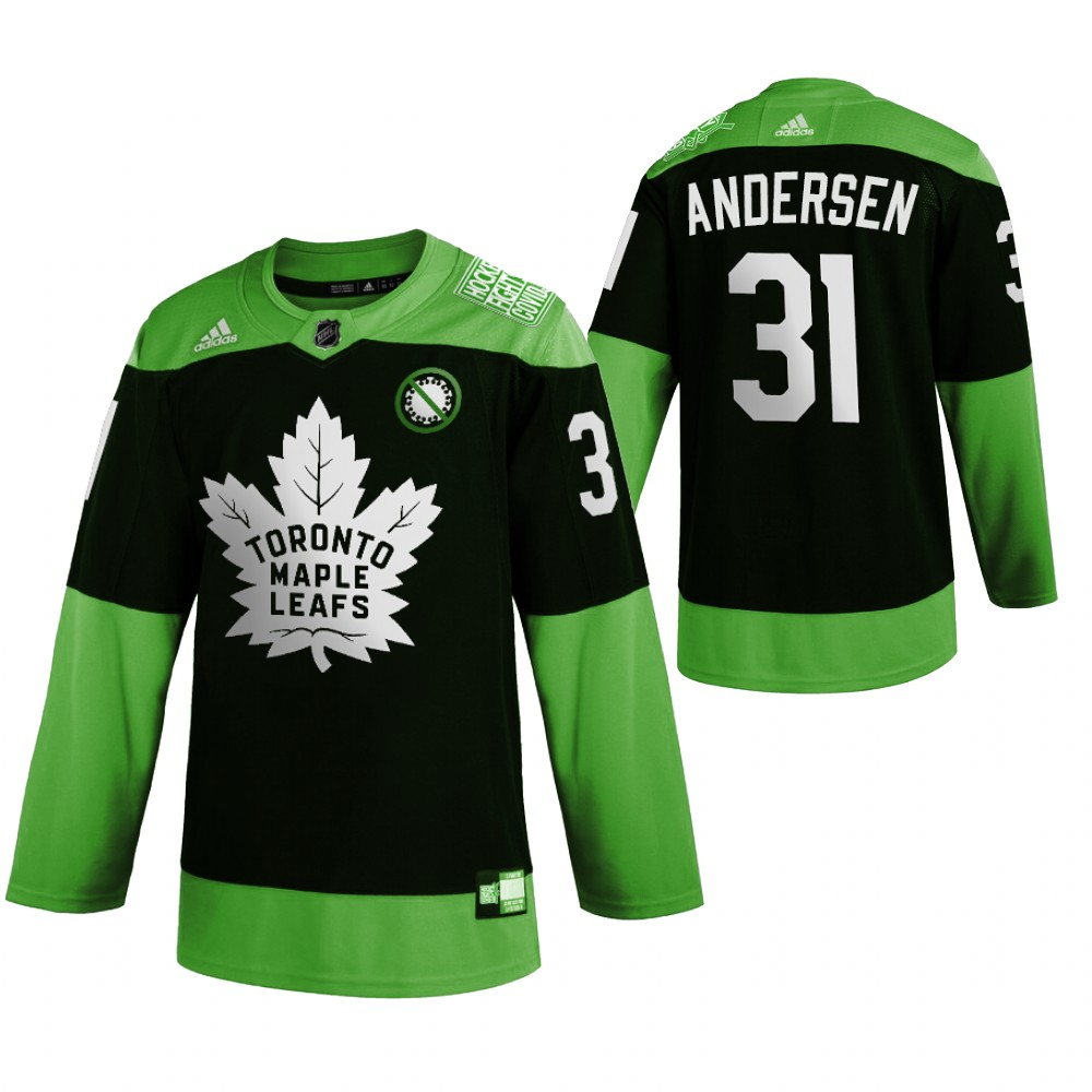 Wholesale Toronto Maple Leafs 31 Frederik Andersen Men Adidas Green Hockey Fight nCoV Limited NHL Jersey