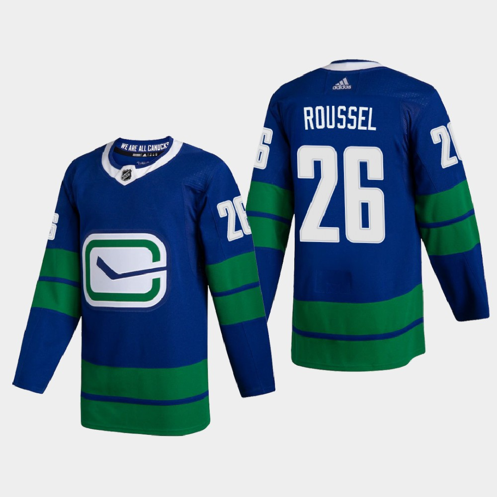 Cheap Vancouver Canucks 26 Antoine Roussel Men Adidas 2020 Authentic Player Alternate Stitched NHL Jersey Blue