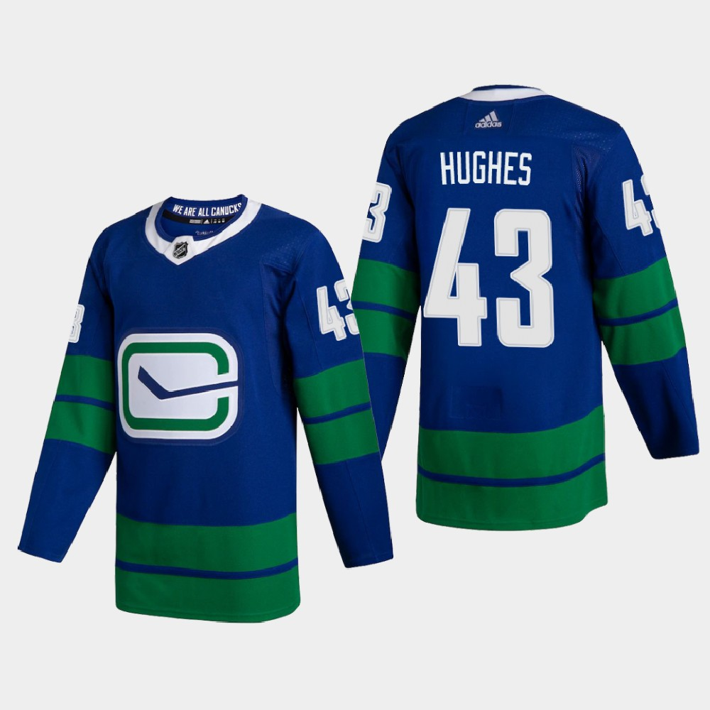 Cheap Vancouver Canucks 43 Quinn Hughes Men Adidas 2020 Authentic Player Alternate Stitched NHL Jersey Blue