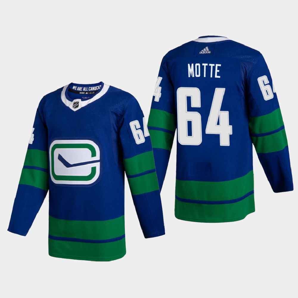 Cheap Vancouver Canucks 64 Tyler Motte Men Adidas 2020 Authentic Player Alternate Stitched NHL Jersey Blue