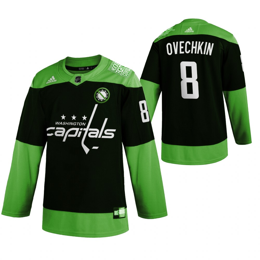 Wholesale Washington Capitals 8 Alexander Ovechkin Men Adidas Green Hockey Fight nCoV Limited NHL Jersey