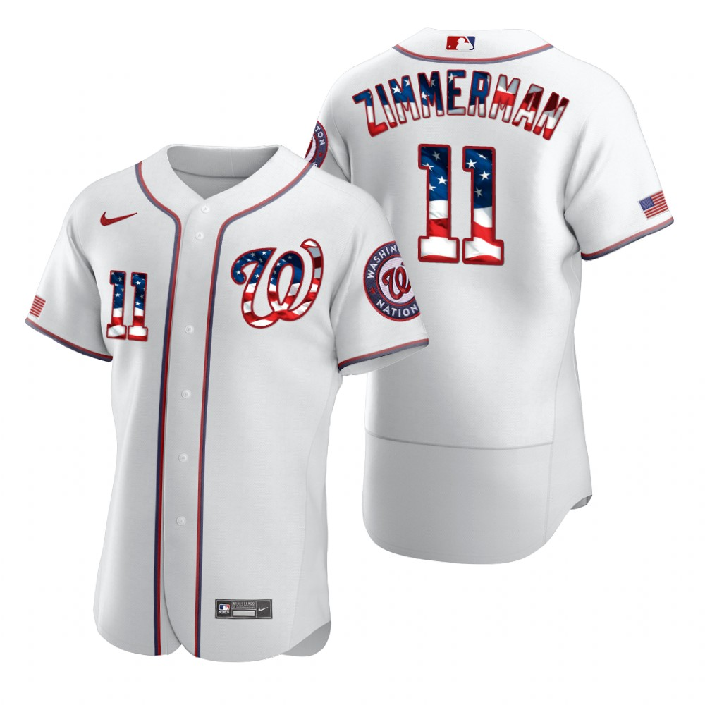 Wholesale Washington Nationals 11 Ryan Zimmerman Men Nike White Fluttering USA Flag Limited Edition Authentic MLB Jersey