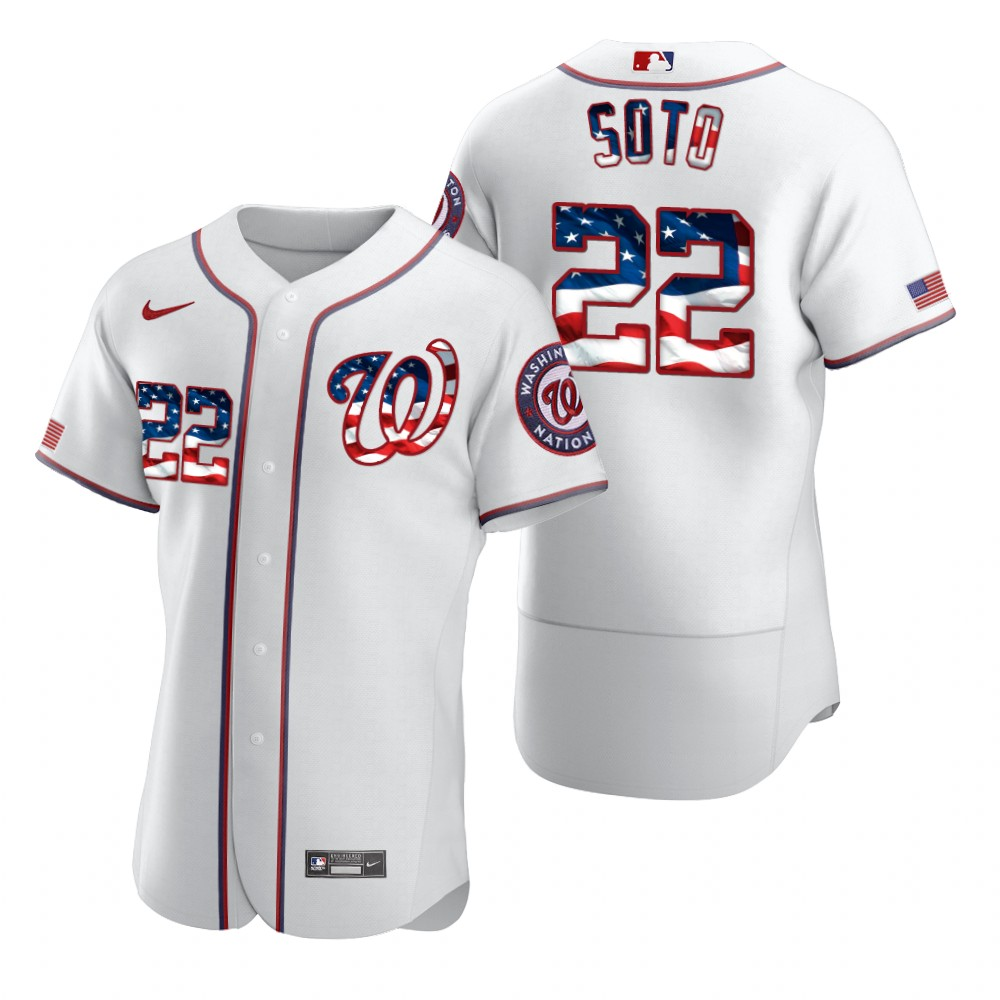 Wholesale Washington Nationals 22 Juan Soto Men Nike White Fluttering USA Flag Limited Edition Authentic MLB Jersey