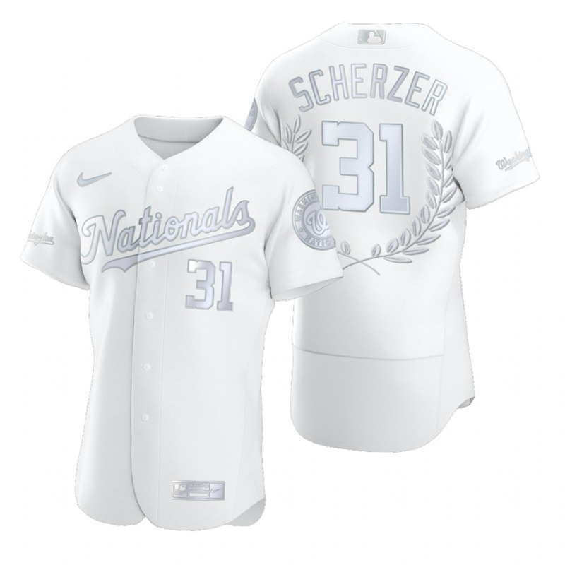 Wholesale Washington Nationals 31 Max Scherzer Men Nike Platinum MLB MVP Limited Player Edition Jersey