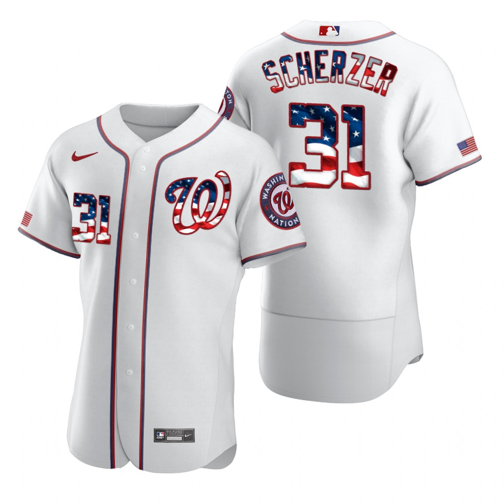 Wholesale Washington Nationals 31 Max Scherzer Men Nike White Fluttering USA Flag Limited Edition Authentic MLB Jersey