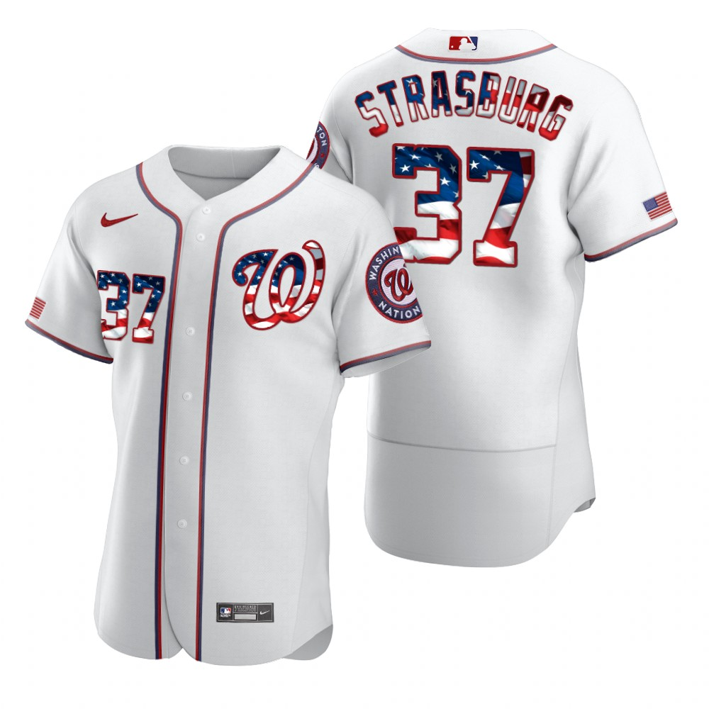 Wholesale Washington Nationals 37 Stephen Strasburg Men Nike White Fluttering USA Flag Limited Edition Authentic MLB Jersey