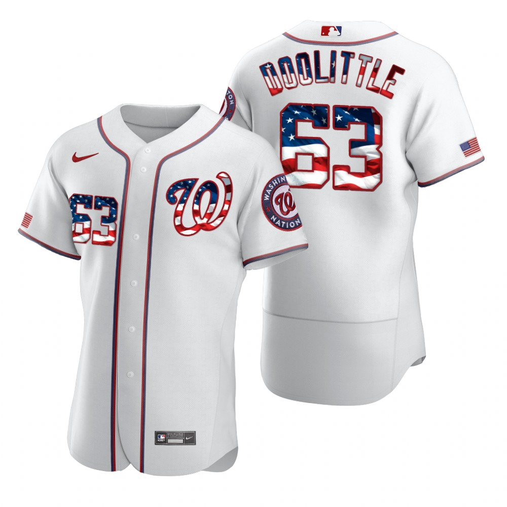 Wholesale Washington Nationals 63 Sean Doolittle Men Nike White Fluttering USA Flag Limited Edition Authentic MLB Jersey