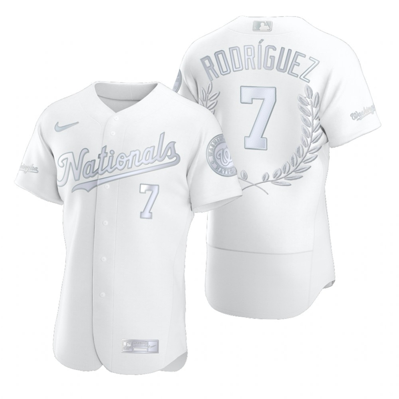 Wholesale Washington Nationals 7 Ivan Rodriguez Men Nike Platinum MLB MVP Limited Player Edition Jersey