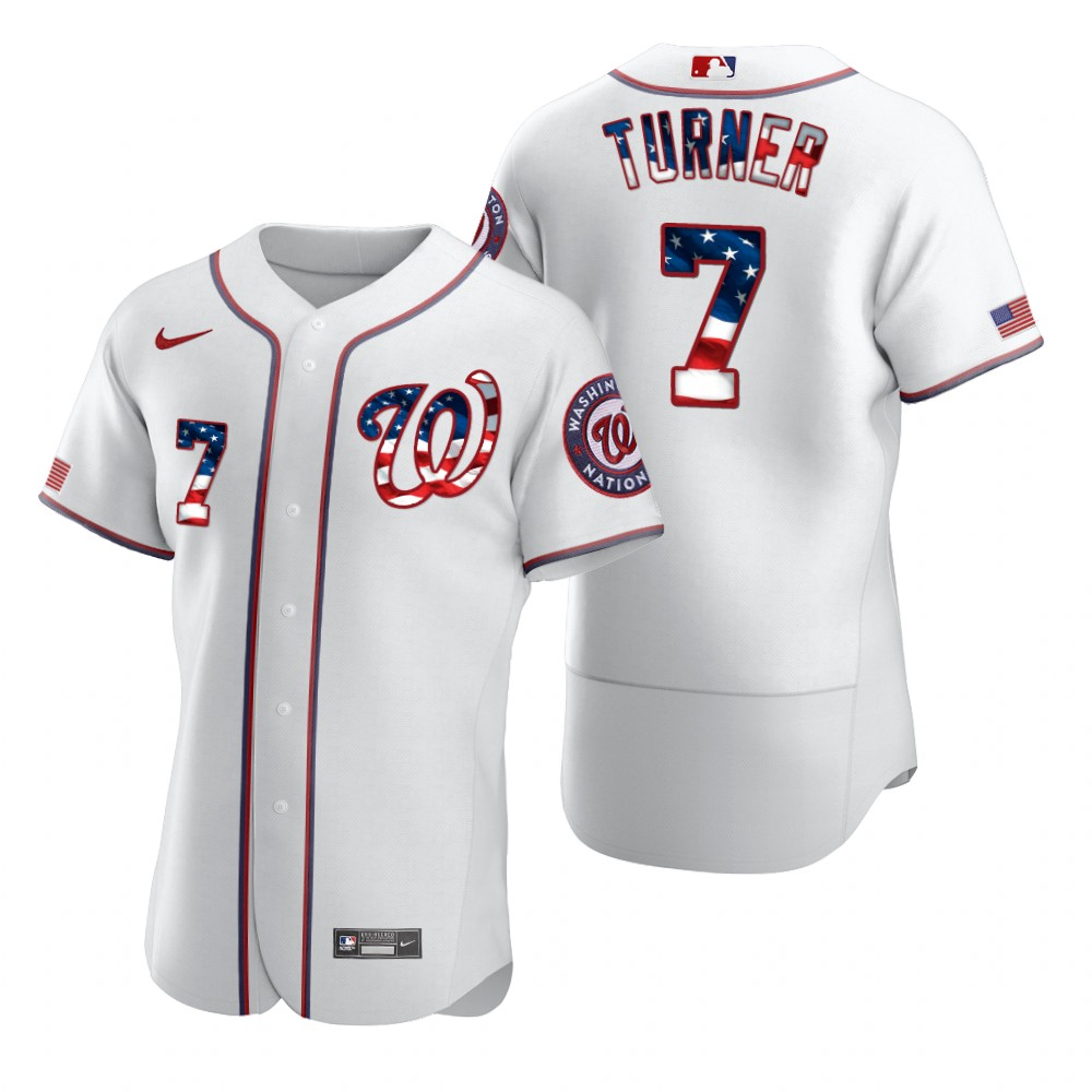 Wholesale Washington Nationals 7 Trea Turner Men Nike White Fluttering USA Flag Limited Edition Authentic MLB Jersey