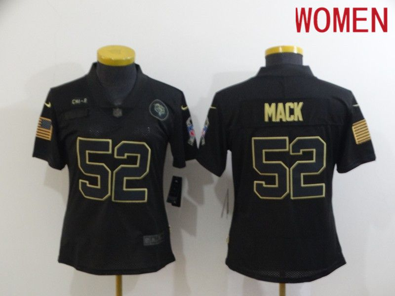 Cheap Women Chicago Bears 52 Mack Black gold lettering 2020 Nike NFL Jersey