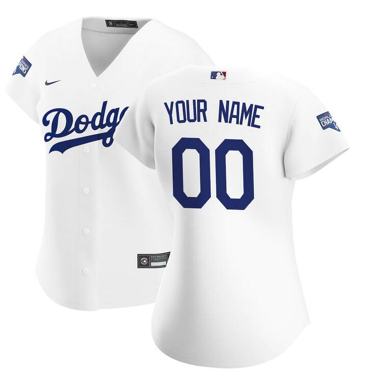 Wholesale Women Los Angeles Dodgers Nike White 2020 World Series Champions Home Custom Replica MLB Jersey