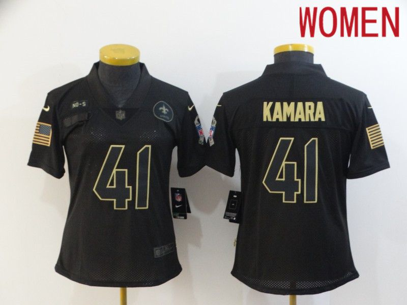 Wholesale Women New Orleans Saints 41 Kamara Black Retro Gold Lettering 2020 Nike NFL Jersey