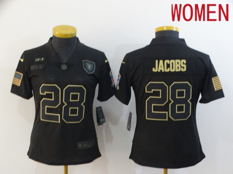 Wholesale Women Oakland Raiders 28 Jacobs Black Retro Gold Lettering 2020 Nike NFL Jersey