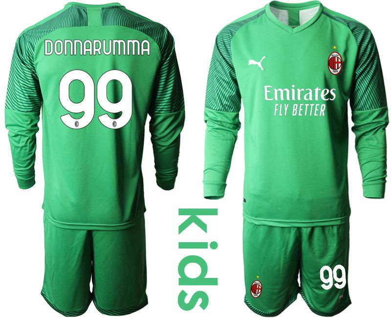 Cheap Youth 2020-2021 club AC Milan green goalkeepe long sleeve 99 Soccer Jerseys