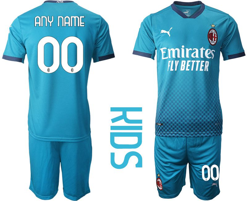 Cheap Youth 2020-2021 club AC milan away customized blue Soccer Jerseys