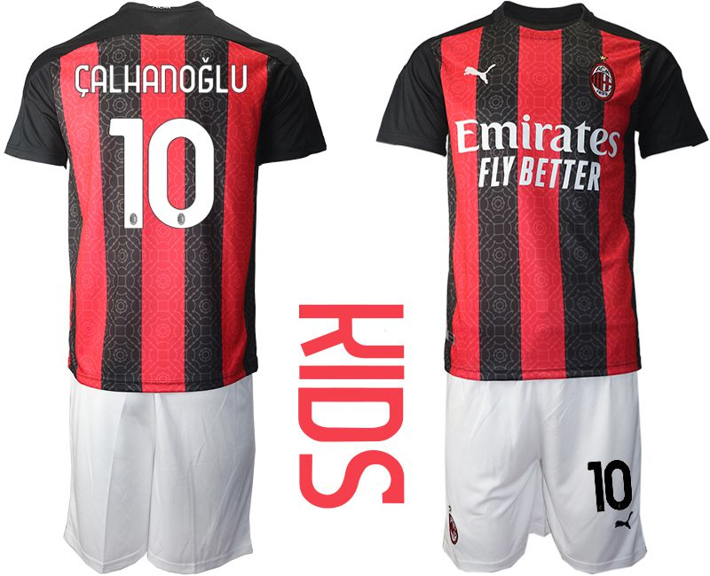 Cheap Youth 2020-2021 club AC milan home 10 red Soccer Jerseys