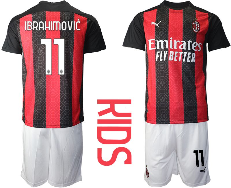 Cheap Youth 2020-2021 club AC milan home 11 red Soccer Jerseys