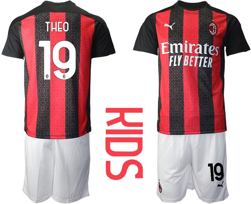 Cheap Youth 2020-2021 club AC milan home 19 red Soccer Jerseys