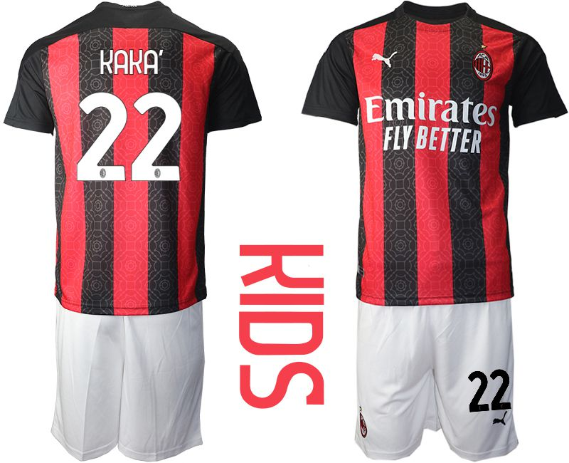 Cheap Youth 2020-2021 club AC milan home 22 red Soccer Jerseys