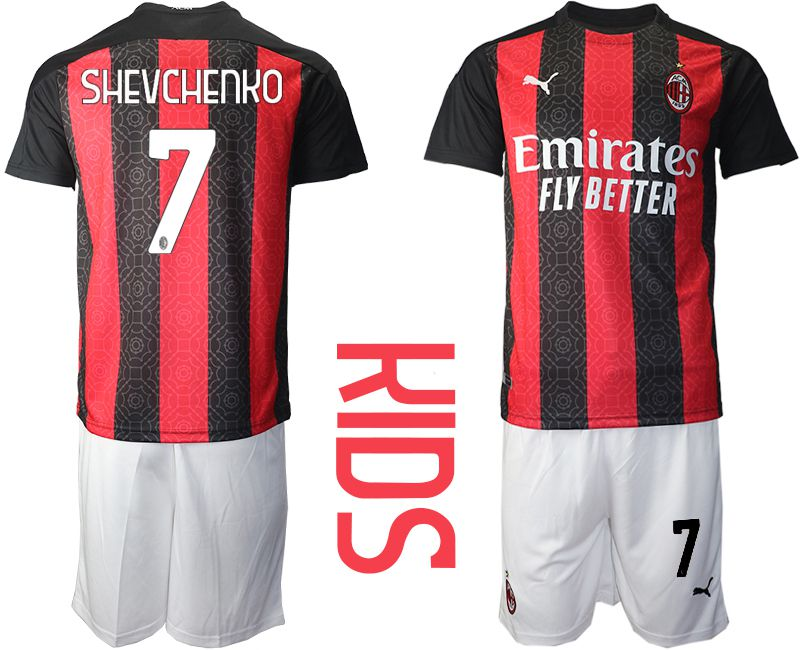 Cheap Youth 2020-2021 club AC milan home 7 red Soccer Jerseys