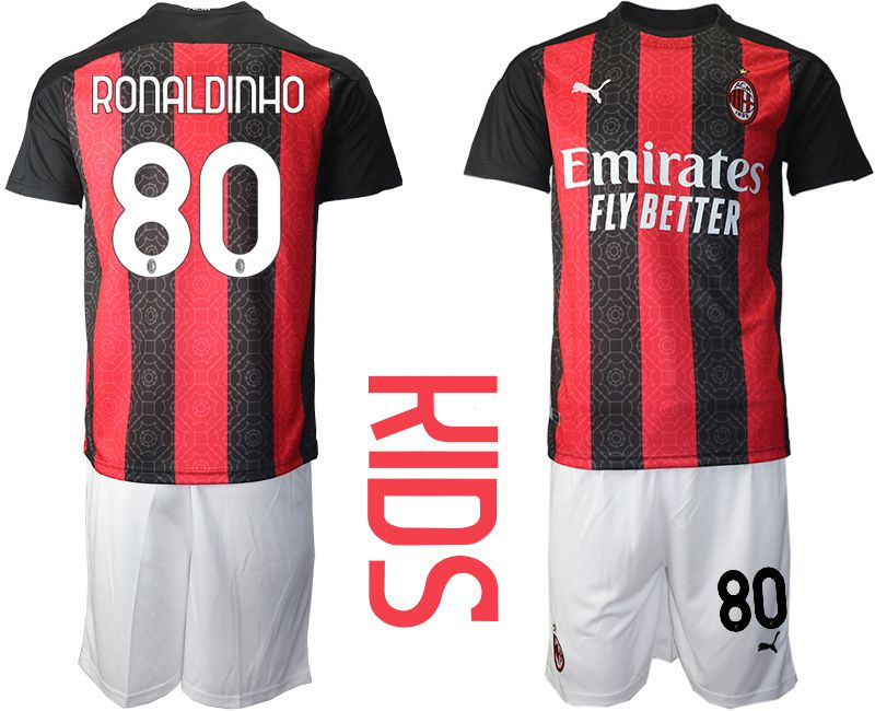 Cheap Youth 2020-2021 club AC milan home 80 red Soccer Jerseys