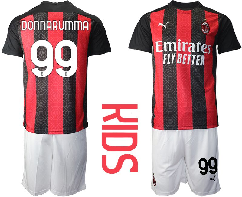 Cheap Youth 2020-2021 club AC milan home 99 red Soccer Jerseys