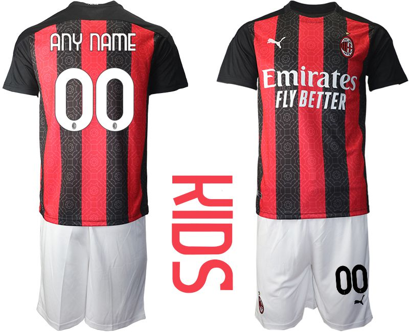 Cheap Youth 2020-2021 club AC milan home customized red Soccer Jerseys