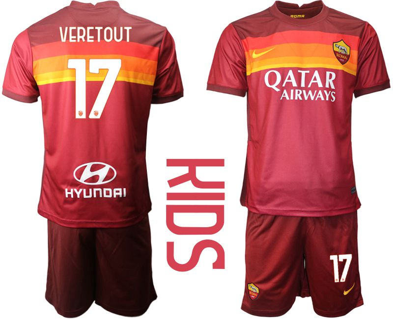 Cheap Youth 2020-2021 club AS Roma home 17 red Soccer Jerseys