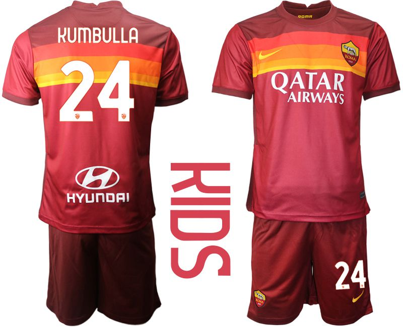 Cheap Youth 2020-2021 club AS Roma home 24 red Soccer Jerseys