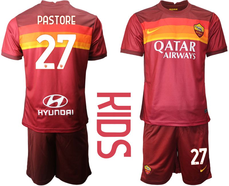 Cheap Youth 2020-2021 club AS Roma home 27 red Soccer Jerseys