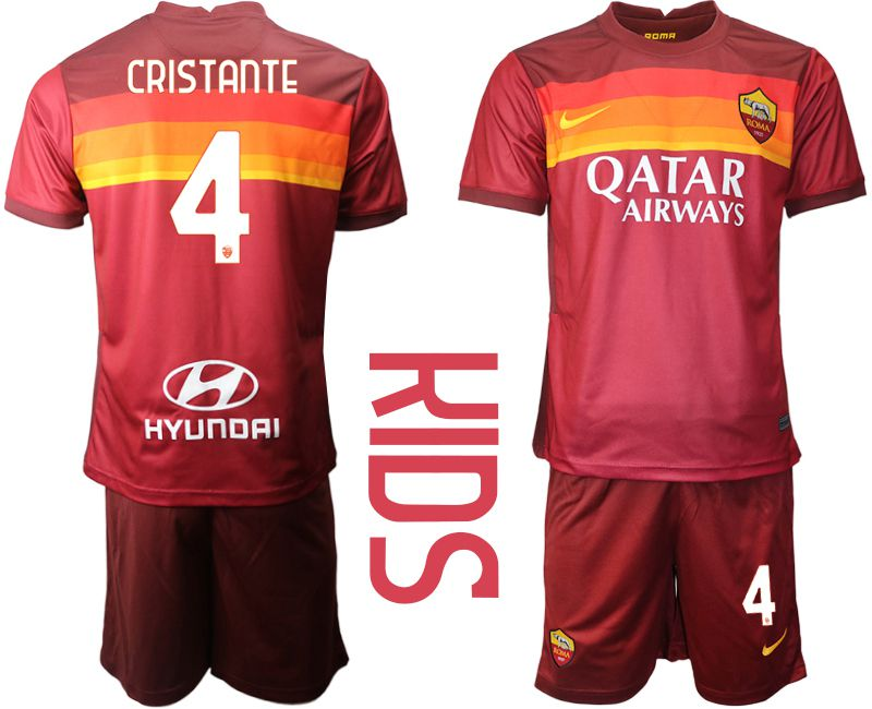 Cheap Youth 2020-2021 club AS Roma home 4 red Soccer Jerseys
