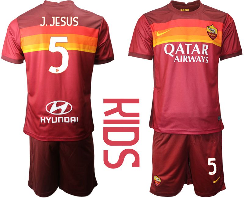 Cheap Youth 2020-2021 club AS Roma home 5 red Soccer Jerseys