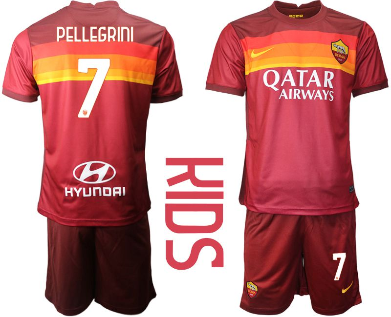 Cheap Youth 2020-2021 club AS Roma home 7 red Soccer Jerseys
