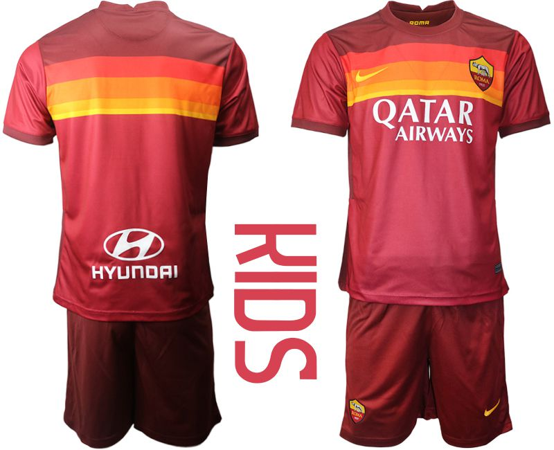 Cheap Youth 2020-2021 club AS Roma home red Soccer Jerseys