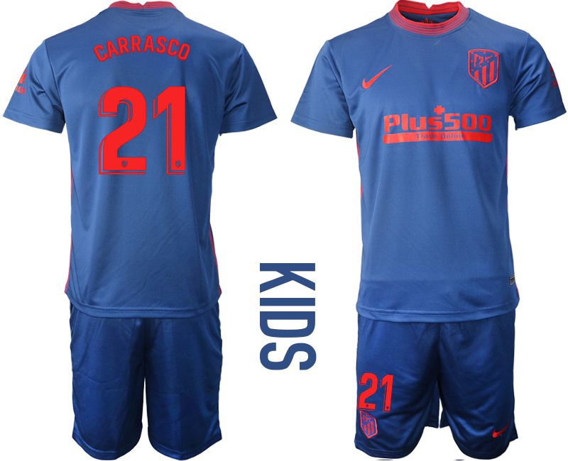 Wholesale Youth 2020-2021 club Atletico Madrid away 21 blue Soccer Jerseys