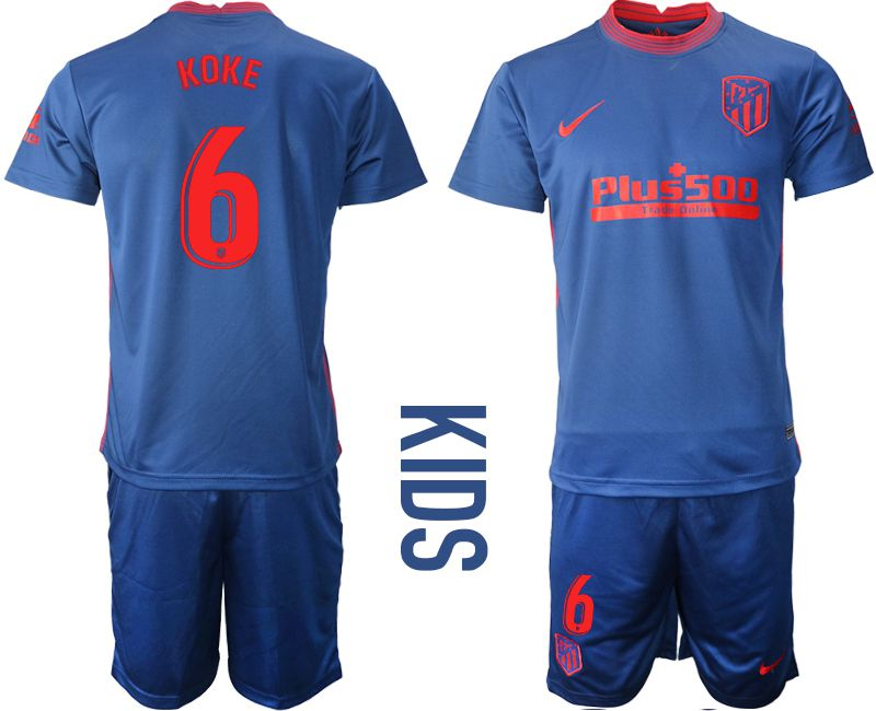 Wholesale Youth 2020-2021 club Atletico Madrid away 6 blue Soccer Jerseys