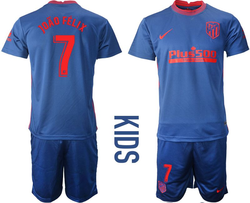 Wholesale Youth 2020-2021 club Atletico Madrid away 7 blue Soccer Jerseys