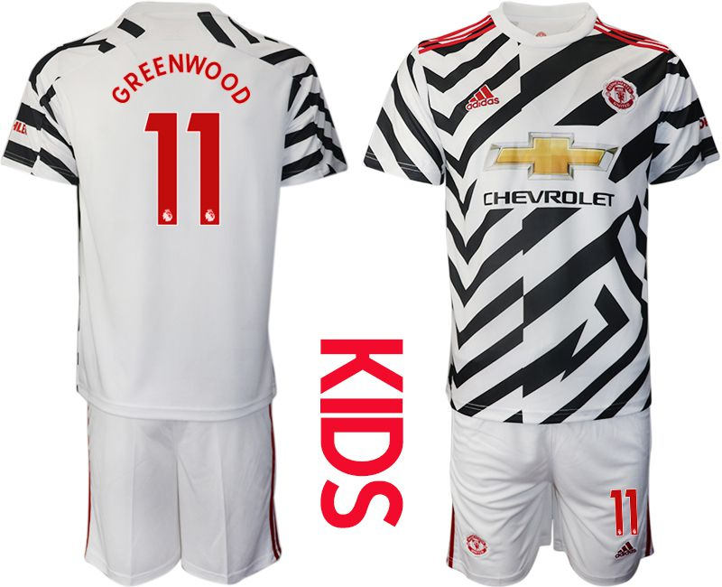 Cheap Youth 2020-2021 club Manchester united away 11 white Soccer Jerseys